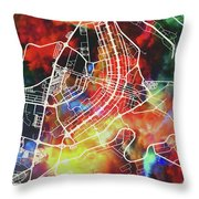 Brasilia Brazil Watercolor City Street Map Throw Pillow