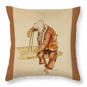 Brazil Watercolor Man On Bench Throw Pillow