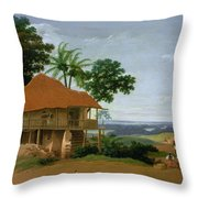 Brazilian Landscape With A Worker   S House  Throw Pillow