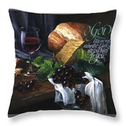 Bread And Wine Throw Pillow by Clint Hansen