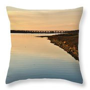 Bridge And Ria At Sunset In Quinta Do Lago Throw Pillow