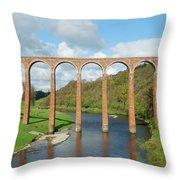bridge over river Tweed near Melrose towards Gattonside Throw Pillow