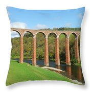 bridge over river Tweed near Melrose Throw Pillow