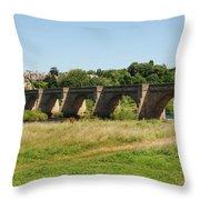 bridge over river Tyne at Corbridge in summer Throw Pillow