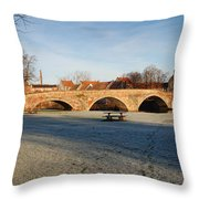 bridge over river Tyne in Haddington in winter Throw Pillow