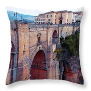 bridge  Puente Nuevo in Rondo Throw Pillow by Ariadna De Raadt