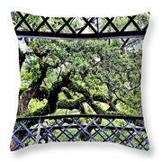 Bridge Through Live Oaks Throw Pillow