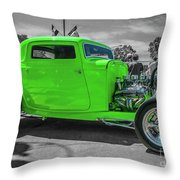 Bright Green Ford Throw Pillow