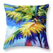 Bright Palm Square Throw Pillow