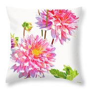 Bright Pink Dahlias With Buds Throw Pillow