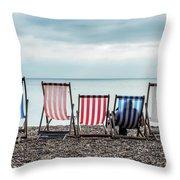 Brighton Beach Chairs Throw Pillow