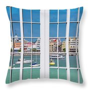 Brilliant Bermuda Cityscape Windows Throw Pillow