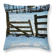 Broken Fence In The Snow At Sunset Throw Pillow