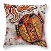 Brother Fish And Sister Starfish In Deep Conversation Throw Pillow