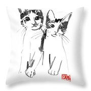 Brothers Cats Throw Pillow