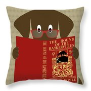 Brown Dog Reading Throw Pillow by Donna Mibus