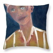 Brown Hat Man Throw Pillow