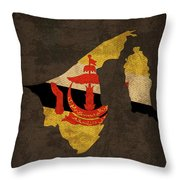 Brunei Country Flag Map Throw Pillow