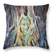 Buddha Head In Tree Roots Throw Pillow