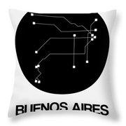 Buenos Aires Black Subway Map Throw Pillow
