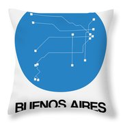 Buenos Aires Blue Subway Map Throw Pillow