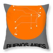 Buenos Aires Orange Subway Map Throw Pillow
