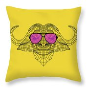 Buffalo In Pink Glasses Throw Pillow