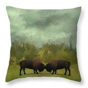Buffalo Standoff - Painting Throw Pillow