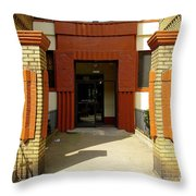 Building Entrance In Brooklyn, New York Throw Pillow