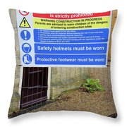 Building Site Sign Throw Pillow