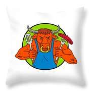 Bull Holding Barbecue Sausage Drawing Color Throw Pillow