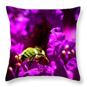 Bumble Bee On A Rhodedendron  Throw Pillow