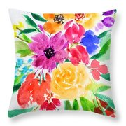 Bunch Of Flowers Throw Pillow