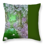 Bunnies Welcome At The Camp Fire In Green Throw Pillow