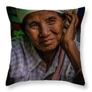 Burmese Lady Throw Pillow by Chris Lord