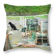 Burnmouth Harbour With Dog On Pier And Lobster Pots Throw Pillow