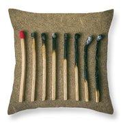 Burnt Matches Throw Pillow