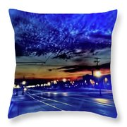 Bus Stop Sunrise Throw Pillow