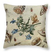 Butterflies, Clams, Insects Throw Pillow