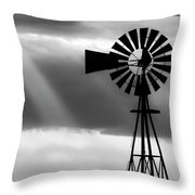 Bw Windmill And Crepuscular Rays -01 Throw Pillow by Rob Graham