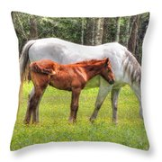 By Mom's Side Throw Pillow