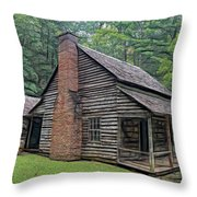 Cabin In The Woods - Fractals Throw Pillow