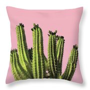 Cactus - Minimal Cactus Poster - Desert Wall Art - Tropical, Botanical - Pink, Green - Modern Prints Throw Pillow