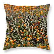 Cactus Poppies And Bluebells Throw Pillow