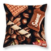 Cafe Beans And Sweet Treats Throw Pillow