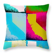 California Pop Art Panels Throw Pillow