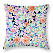 California Rose Garden Throw Pillow