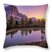 Calm Morning On Lago Di Limides Throw Pillow by Dmytro Korol