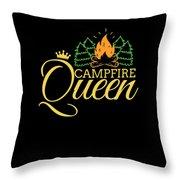 Campfire Queen Camping Caravan Camper Camp Tent Throw Pillow
