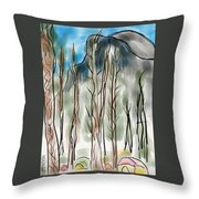 Camping Under Half Dome Throw Pillow